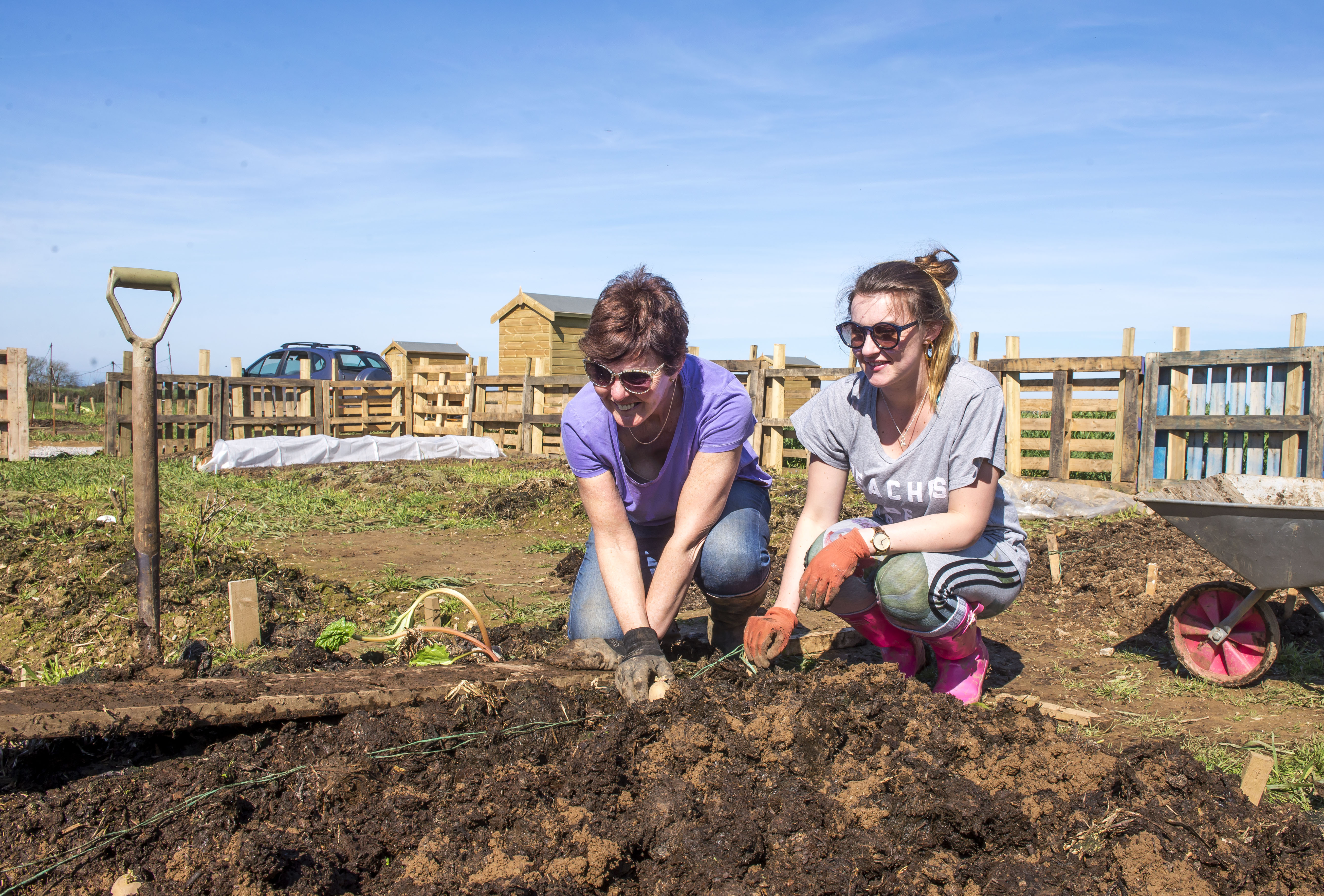 Duchy Allotments, Quintrell Downs.Angela Hayne and Chloe Alexander.