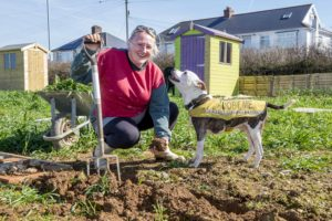 Duchy Allotments, Quintrell Downs.Carla Whiting and Jake.