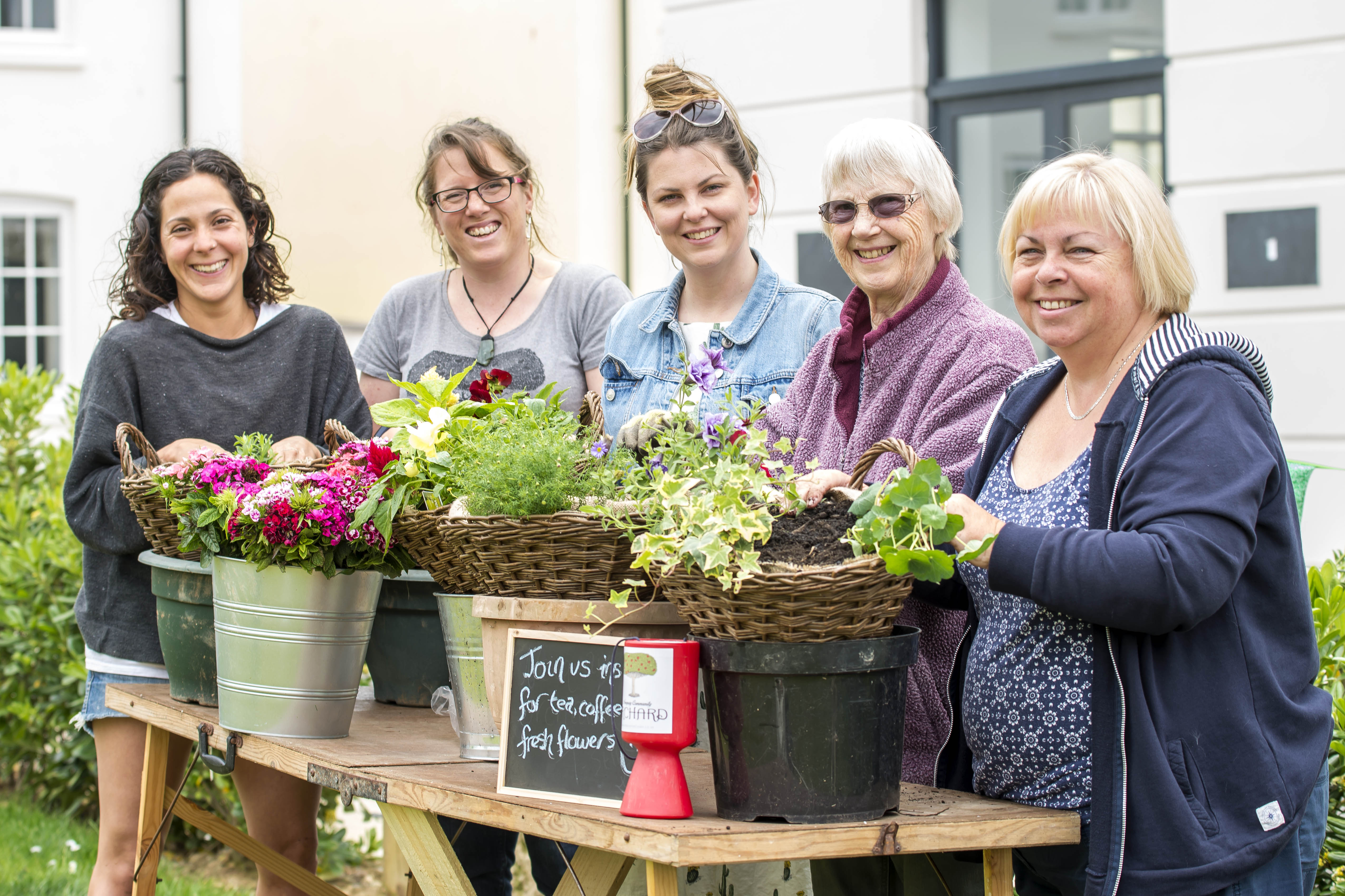 Lorena Viladomat, Lyn Trewella and Natalie Frost from Newquay Community Orchard with residents Hazel Sadler and Barbara May