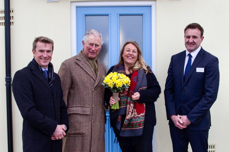The Duke of Cornwall with Marguerite St John and Philip Fry (left), Managing Director of CG Fry, and Marcus Shelton, New Homes Sales Manager at CG Fry