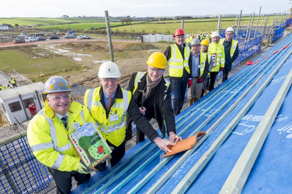 Topping out celebration at Skol Nansledan primary school at Nansledan in Newquay