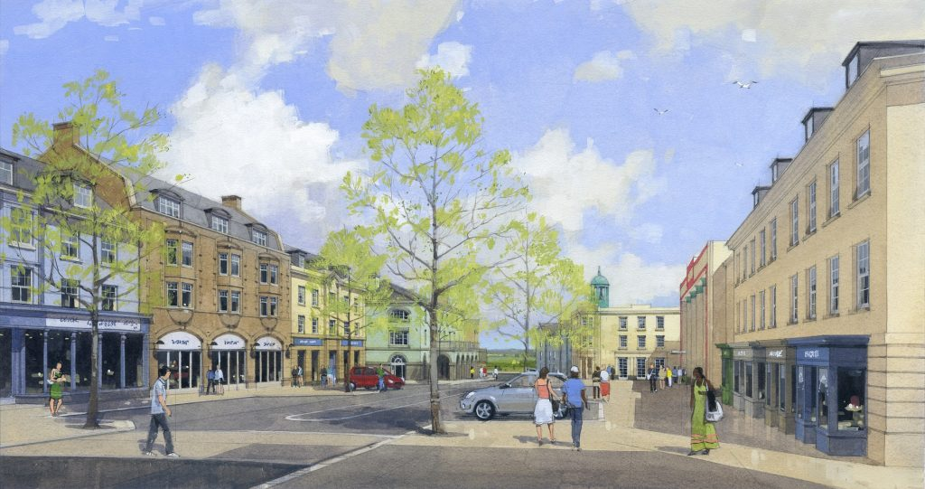 A watercolour showing how Nansledan's new Market Street will look once completed
