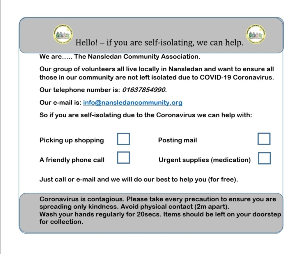 The form that the Nansledan Community Association is using to help residents get through the coronavirus crisis.