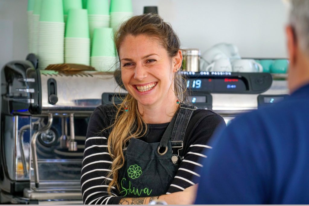 Chloe Stock from Shiva, and new yoga studio and cafe in Nansledan, a Duchy of Cornwall development of new homes and businesses on the edge of Newquay in Cornwall.