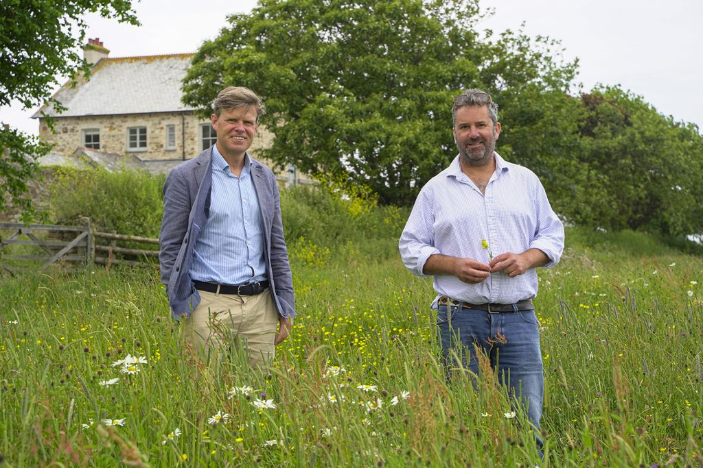 Ben Murphy, Estate Director of the Duchy of Cornwall with tenant farmer George Thomas at Nansledan.